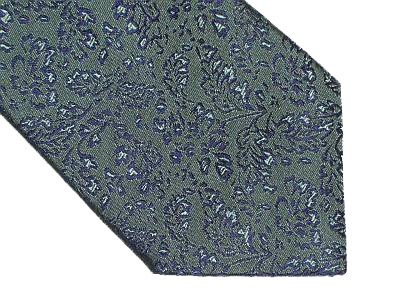 BCBG Maxazria Silk Tie - Forest Green w/Blue Leaf Pattern