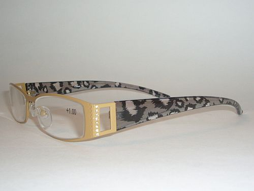 Reading Glasses 1.00 - Animal Print Black Gray Gold Readers