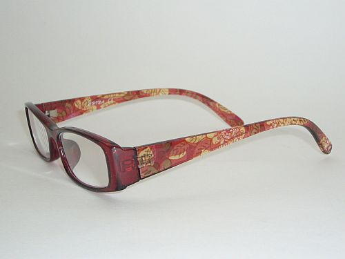 Reading Glasses 1.25 w/Case - Floral Maroon Orange Readers