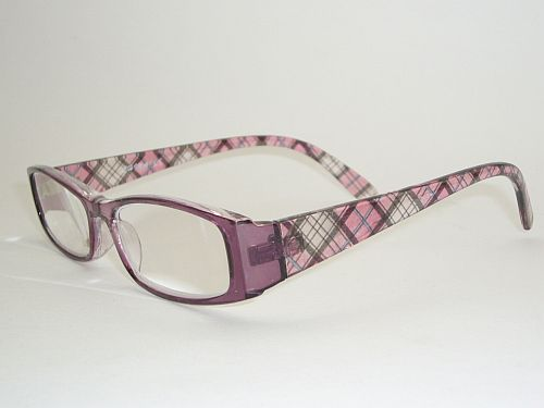 Reading Glasses 2.00 w/Case - Black Pink Plaid Readers