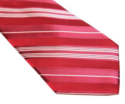 DKNY Tie - Stripe Red White