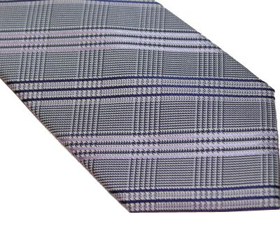 DKNY Tie - Herringbone Gray Purple Blue