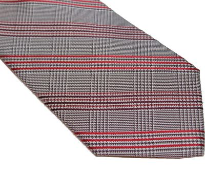 DKNY Tie - Herringbone Gray Red Maroon