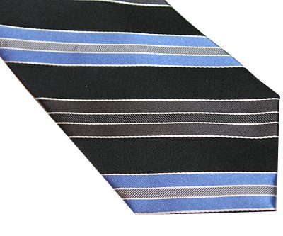 Michael Kors Tie - Diagonal Stripe Black Gray Blue