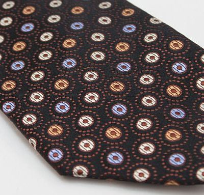 Lanae Joy Tie - Brown with Blue Cream Tan Dots