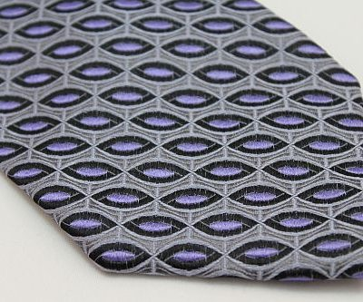 Lanae Joy Tie XL - Gray with Purple and Black Ovals