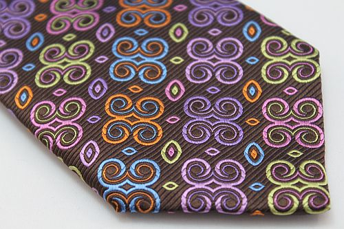 Lanae Joy Tie - Butterflies in Brown Orange Aqua Purple Pink