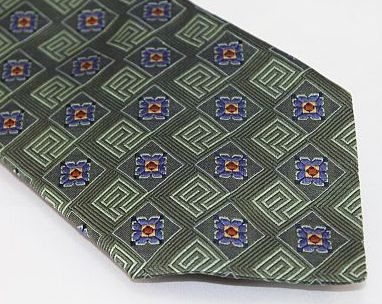 Lanae Joy Tie - Green Checked Blue Floral