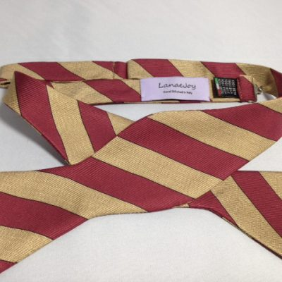 Lanae Joy Bow Tie - Maroon Gold Stripe
