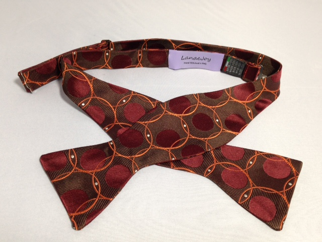 Lanae Joy Bow Tie - Brown Maroon Orange Polka Dots Circles