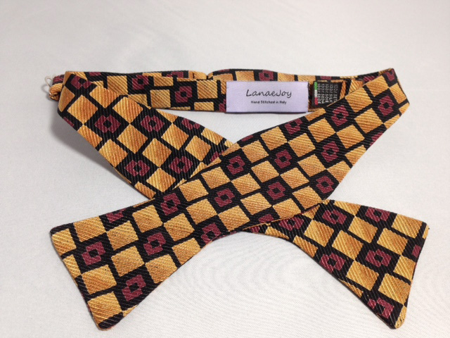 Lanae Joy Bow Tie - Gold Burnt-Orange Black Blocks