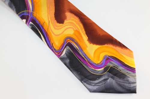 Jerry Garcia tie extra long Cyclops Rock Orange, Umber, Yellow, Purple, Violet, Charcoal, Gray and Black