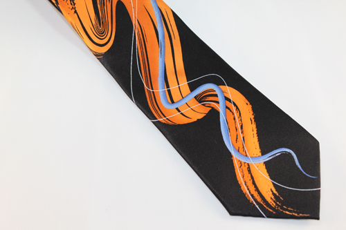 Jerry Garcia Tie - Liquid Torso - Orange, Blue, Silver and Black