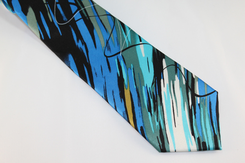 Jerry Garcia Tie - California Mission - Teal, Blue, Moss, Gold, White and Black