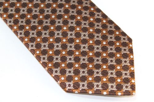 Lanae Joy Extra Long Tie Brown Sienna Tan White Polka Dots