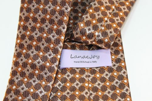 Lanae Joy Tie Brown Sienna Tan White Polka Dots