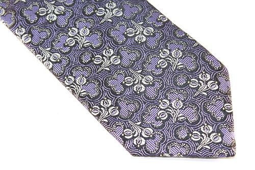 Lanae Joy Extra Long Tie floral purple black gray