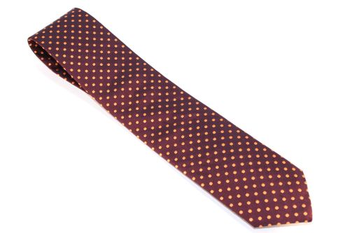 Lanae Joy Tie Maroon Orange Polka Dots