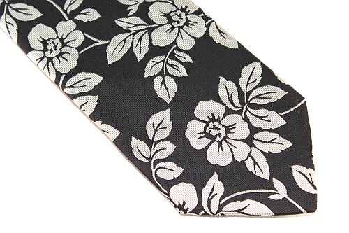 Lanae Joy Extra Long Tie Black Silver Floral