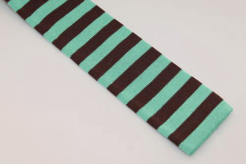 Ted Baker London Knit Tie Turquoise Brown Striped