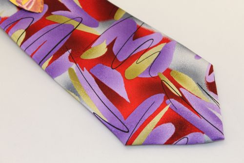 Jerry Garcia tie Red Purple Gold Silver - Landscape