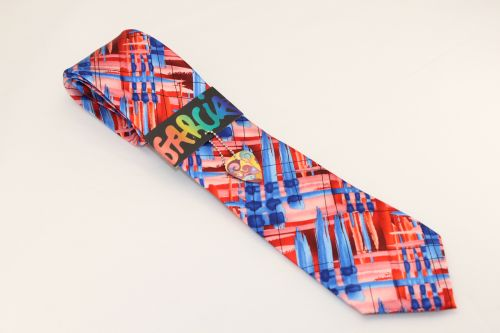 Jerry Garcia Tie Red Blue Pink - Unknown Abstract - Wedding Lot