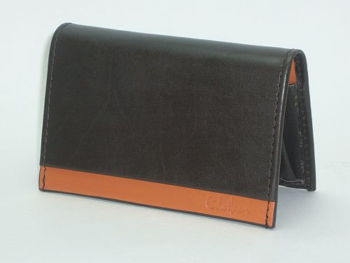 Cole Haan Leather Flap Card Case Brown Orange